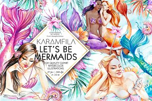 Let's Be Mermaids Clipart