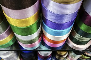 Colorful ribbon in roll