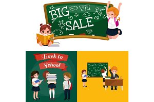 back to school and children education concept vector background