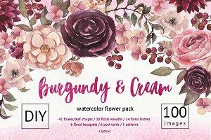 Watercolor Burgundy Floral Pack