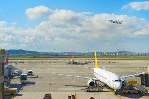 Modern airport overlooking scene