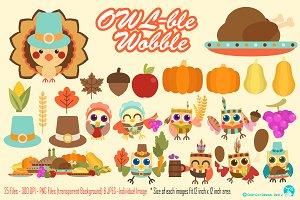 Owlble Wobble Digital Clipart