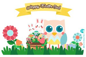 Digital Clipart  Happy Easter Owl