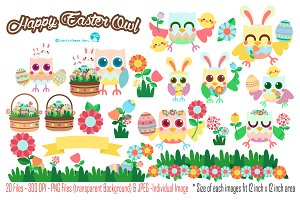 Happy Easter Owl Digital Clipart