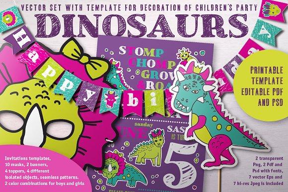 Dinosaurs Birtday decor set
