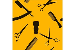 Barber Shop or Hairdresser background, seamless pattern with hairdressing scissors, shaving brush, razor, comb for man salon vector illustration