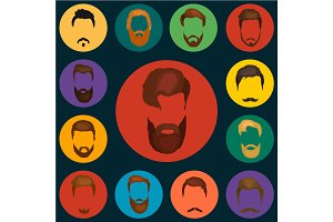Men cartoon hairstyles with beards and mustache.Vector illustration  isolated hipsters  on a white background.