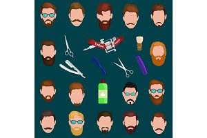 Set of men cartoon hairstyles with beards and mustache. Collection  fashionable stylish   . Vector illustration  isolated hipsters  on a white background.