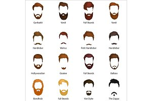 Mans hair set of beards and mustaches vector. Hipster style fashion    isolated illustration. Peoples hairstyle icon, collection     for barbershop.