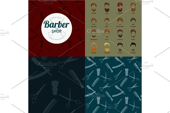 Barber Shop or Hairdresser background set with hairdressing scissors, shaving brush, razor, comb for man salon vector illustration