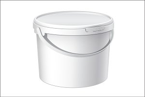 White plastic bucket with White lid