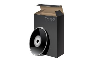 Black Package Box with Disk