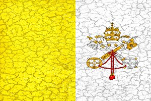 Vatican Grunge Style National Flag