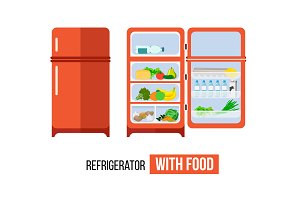 Refrigerator with food