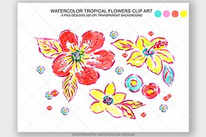Watercolor Tropical Flowers Clip Art