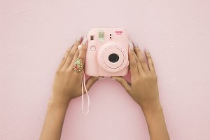 Pink Polaroid on Pink Wall