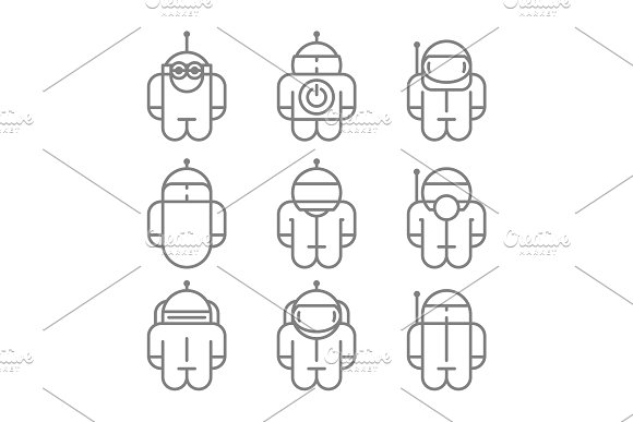 Original Robot Droid Set Icons