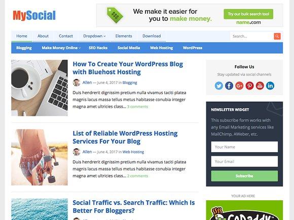 MySocial WordPress Blog Theme
