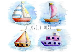 Watercolor lovely ships