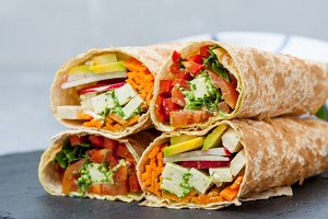 vegan salad tortilla wraps