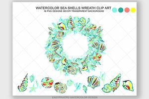 Watercolor Sea Shell Clip Art