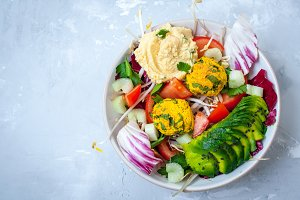 salad with falafel