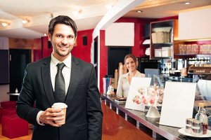 Businessman Getting His Early-morning Coffee