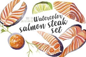 Watercolor salmon steak set
