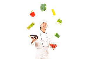 Cook Juggling With Vegetables