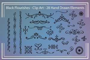Digital Clip Art - Black Flourishes