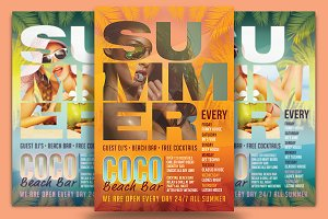 Coco Beach Bar Flyer Template