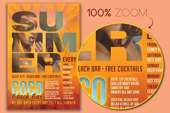 Coco Beach Bar Flyer Template Flyer Templates Creative Market