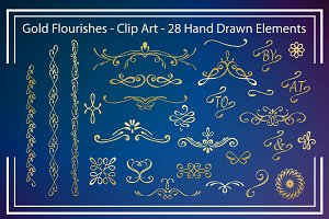 Digital Clip Art - Gold Flourishes
