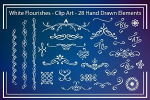 Digital Clip Art - White Flourishes