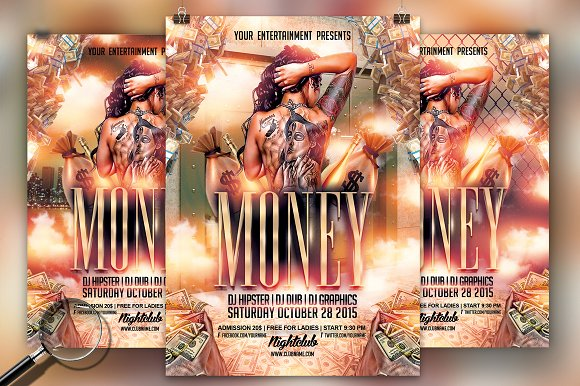 cash money 3in1 flyer template flyer templates creative market