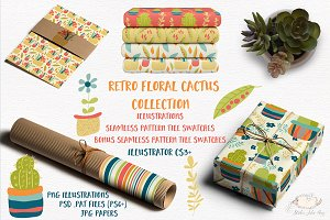 Retro Floral Cactus Collection