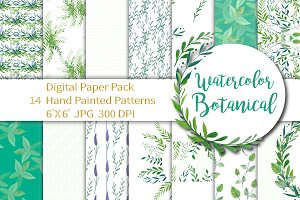 Botanical Watercolor Digital Paper