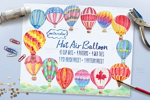 Watercolor Hot Air Balloon Cliparts