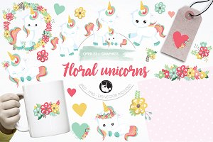 Floral unicorn illustration pack