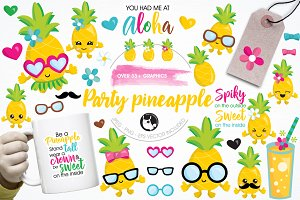 Pineapple party illustration pack
