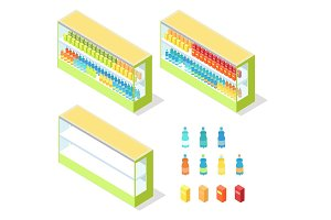 Drinks in Groceries Showcase Isometric Vector