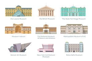 Most Famous Museums in Whole World Illustration