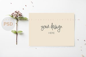Letter and flowers mockup
