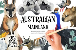 Australian Mainland-illustration set