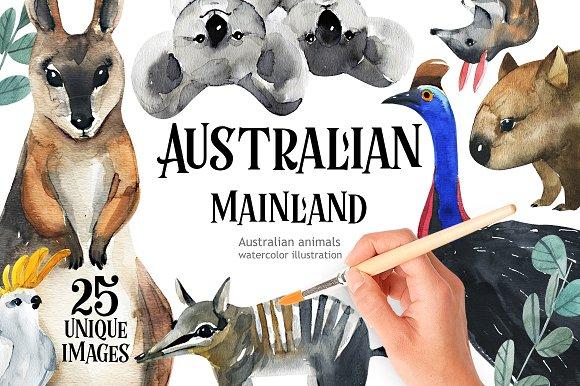 Australian Mainland-illustration set