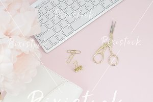 Pink Desktop Flat lay | styled stock