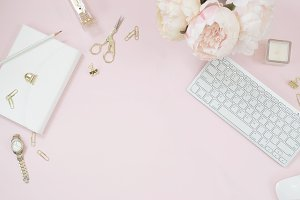 Pink floral desktop flat lay stock