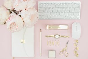 Pink floral desktop flat lay photo