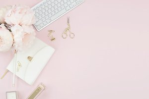 Pink Peonies Desktop Flat lay Photo