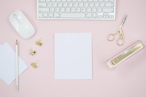 Pink desktop flat lay photo mockup